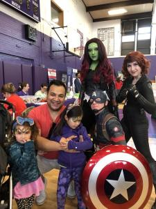 Face painting with superhero characters